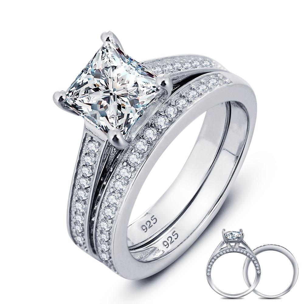 1.5 ct Princess Cut 2-pcs Pink Created Diamond 925 Sterling Silver Wedding Ring