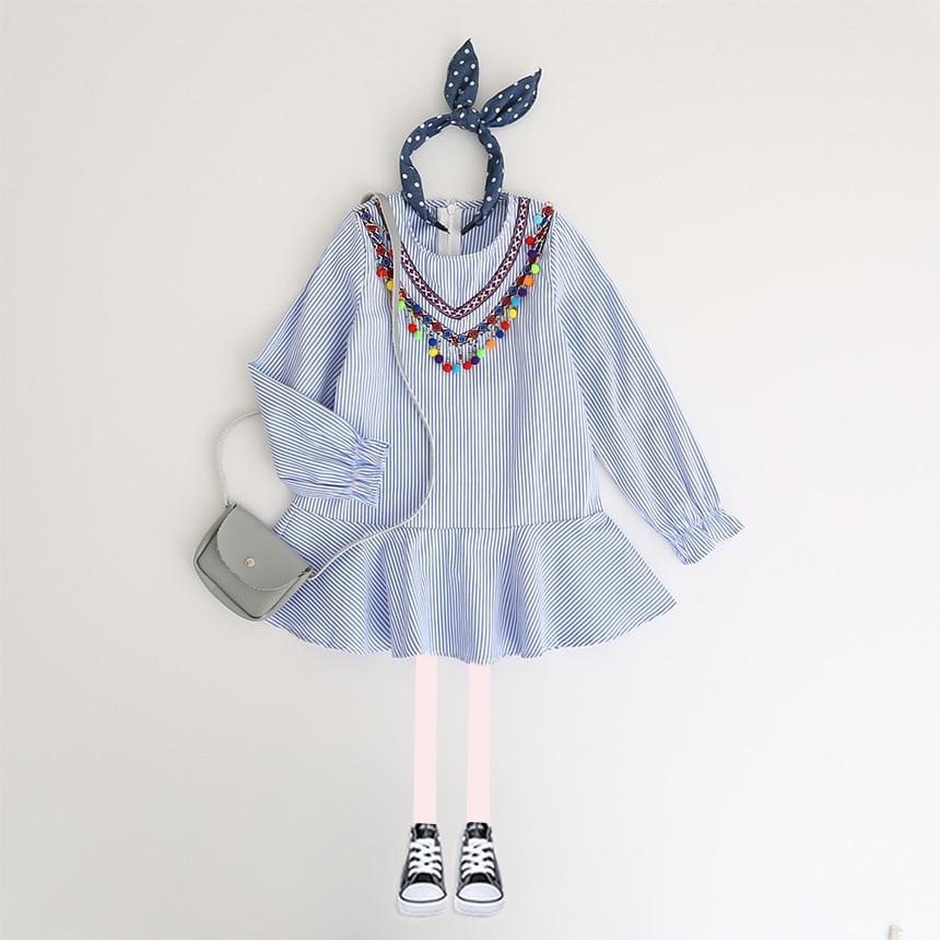 0a137f7bd 2018 Autumn Girl Dress Cotton Long Sleeve Children Dress Striped ...