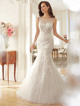 Free Shipping See Through Trumpet Bateau Neck Sleeveless Sweep Train Tulle/Netting Fairytale Wedding Dress With Appliques Y11572