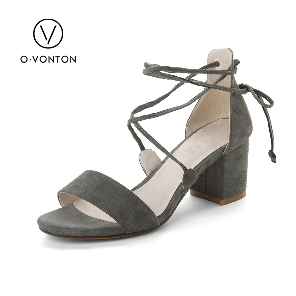 Q.VONTON Women Sandals 2017 Fashion Spring Summer Ankle Strap Open Toe Heels Party Wedding Shoes Female Handmade Shoes Grey Pink womens fashion handmade ankle strap pointed toe party wedding flats shoes cke119