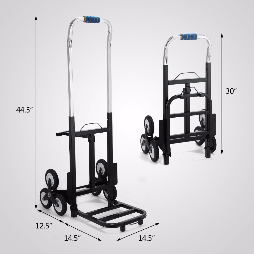 Portable Stair Climbing Folding Cart Climb Hand Truck Dolly with Backup Wheels stair climbing sack trolley unique wheel designed with carbon steel material 6 wheeled stair climbing folding hand trolley
