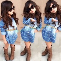 Whoelsale New Style Baby Girls Toddler Kids Long Sleeve Denim Dress One Piece Polka Dots Cotton