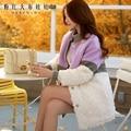 Dabuwawa inverno manchas de pele para baixo casaco de lã em linha reta para as mulheres mulheres casacos de inverno