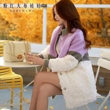 dabuwawa winter straight wool patches fur down jacket for women womens winter jackets