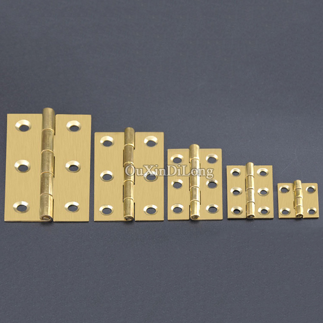 High Quality 10PCS Pure Brass Cabinet Hinges Furniture Accessories Mini  Cabinet Drawer Butt Hinge Furniture Fittings