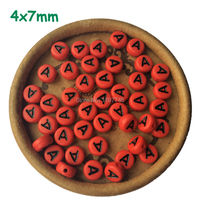 English Alphabet Letter Round Beads Flat Acrylic Red Black Spacers Bead For DIY Jewelry A B C D E F G TO U V W X Y 4*7mm 3600pcs