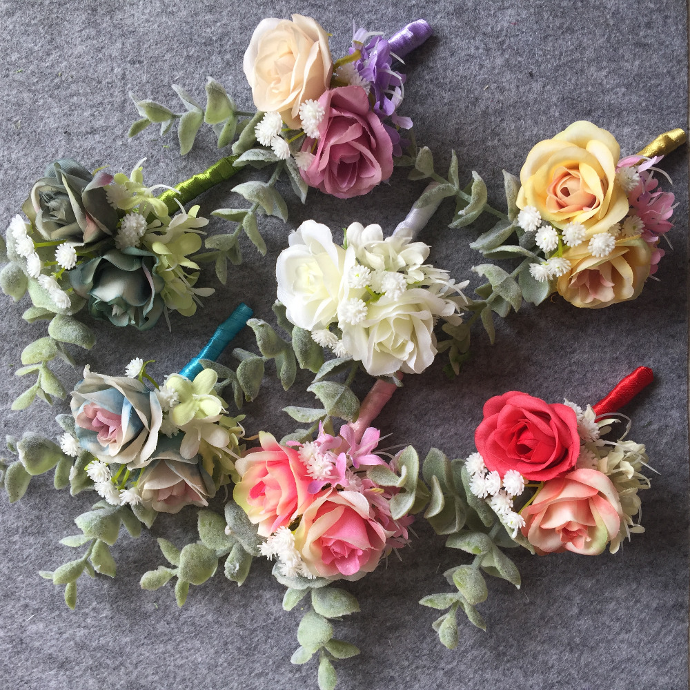 1 pieces buttonhole boutonniere groom groomsman best man artificial weddingbobdiy artificial wedding flower best man boutonnieres groom buttonholes men corsage prom party suit accessory decoration izmirmasajfo Gallery