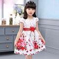 Partido de la princesa Vestidos Para Niñas Vestidos De Novia Estampado floral de Baile Para Niños vestidos de Verano 2017 Vestidos de Tirantes 4 6 8 10 12 Años