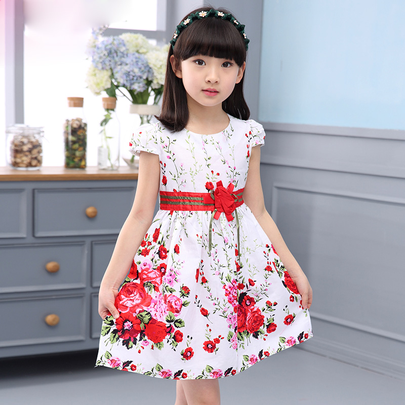 Princess Party Dresses For Girls Wedding Dresses Floral Print Kids Prom Dresses Summer 2017 Sundress 4 6 8 10 12 Years Vestidos