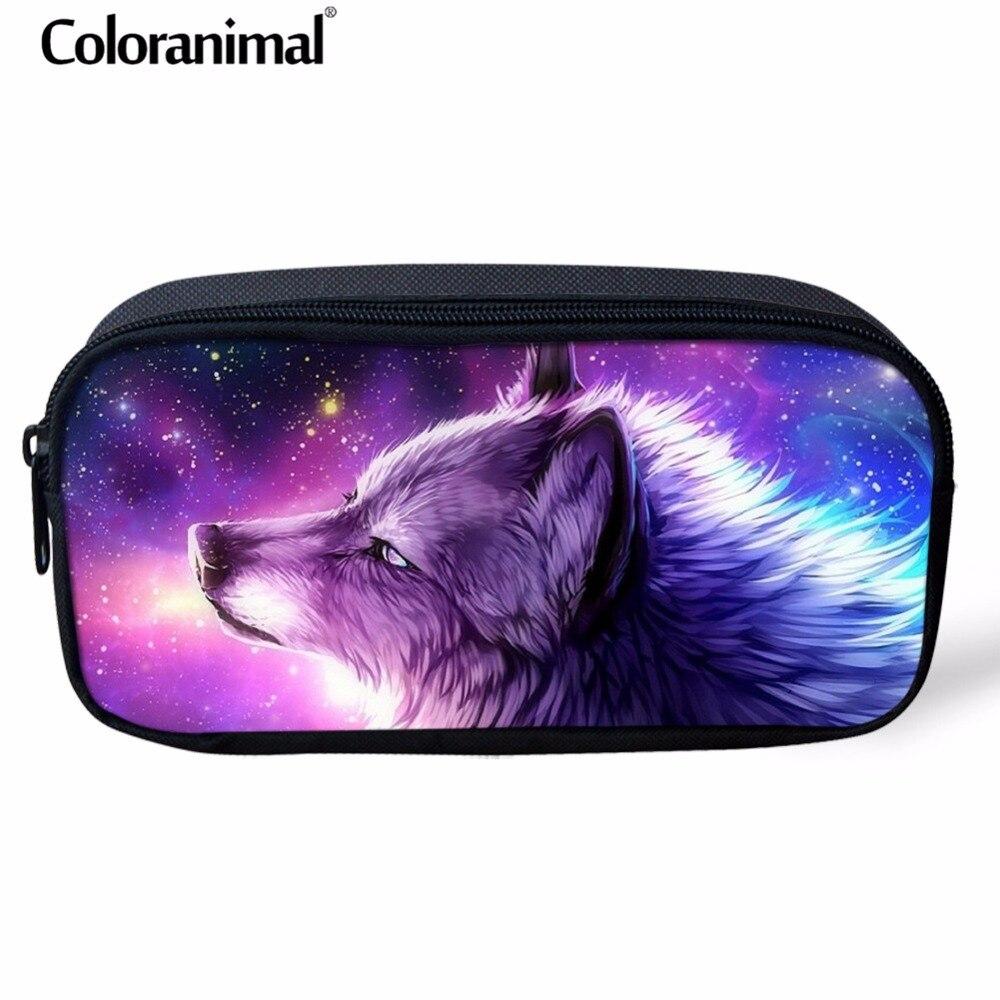 Coloranimal Purple Women Mini Cosmetic Case Portable Shopper Makeup Bag 3D Cool Animal Wolf Print Children Pencil Bag Pen Pouch