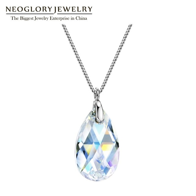 cb3717ac2 Neoglory S925 Silver Teardrop Necklace Simple Water Droplet Crystal Fashion  Chain Necklace&Pendant Jewelry Brand New Gift
