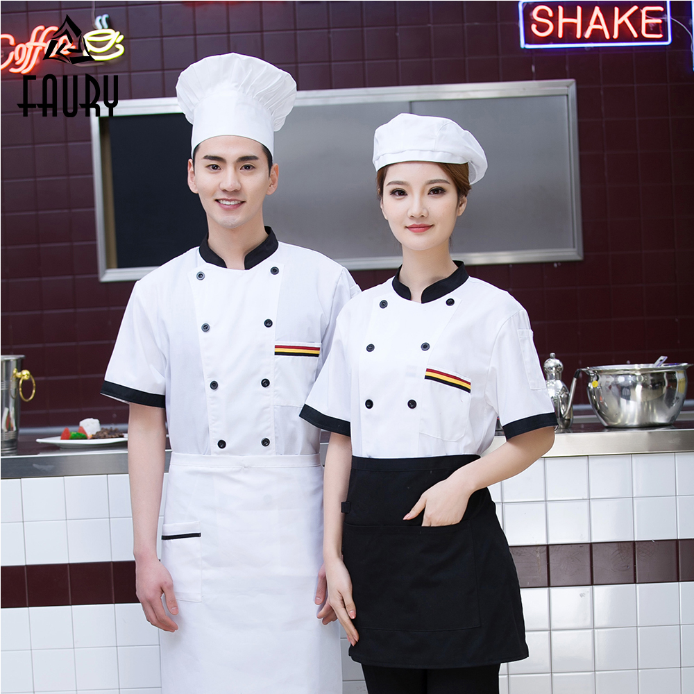High Quality Short Sleeve Casual Stitching Color Chef Jacket Cafe Restaurant Kitchen Cooking Work Clothes Hotel Waiter Uniforms
