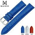 MAIKES Boa Qualidade Genuína Pulseiras De Couro Azul Pulseira Cinto Pulseira de Relógio Com Pin Buckle Clasp Banda Case Para Marca