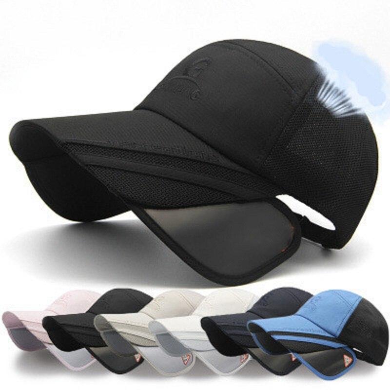 Unisex Chic Retractable Visor   Baseball     Cap   Summer Wide Curved Brim Sunhat Beach Mesh   Caps   UV Protection Hats For Men Women A1