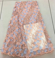 African Latest Fabric With Sequins High Quality Embroidered Net Lace Fabric Dark Blue Light Blue White