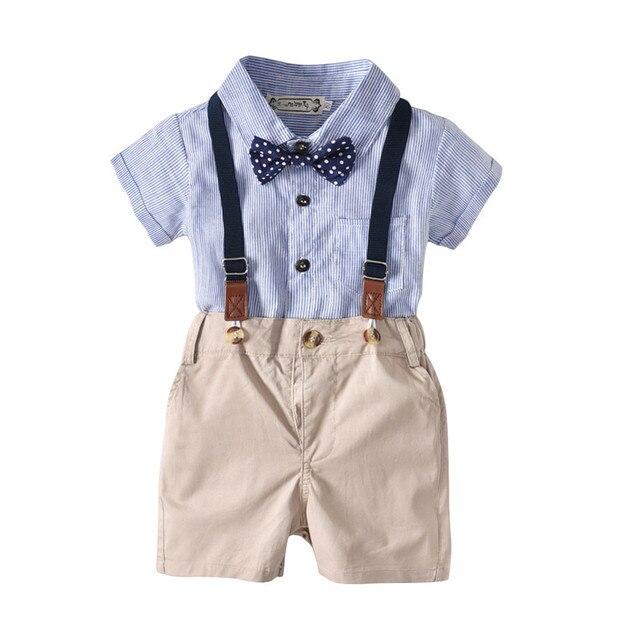 1198e1814a524 baby boy clothing set gentleman t-shirt baby boy romper vest pants 3pcs  party first