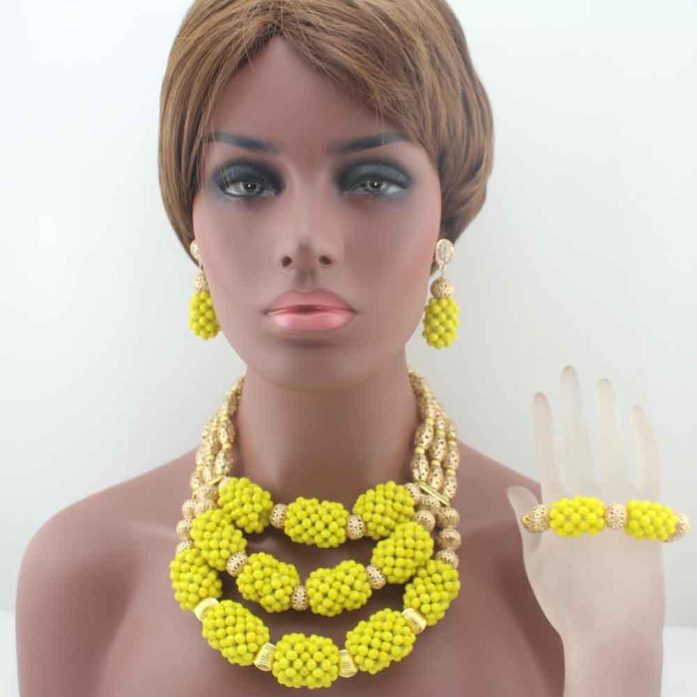 Здесь продается  Fashion New African Wedding earrings Yellow 3 rows Crystal Beads Jewelry Sets Necklace African Accessory Free Shipping HD8571  Ювелирные изделия и часы