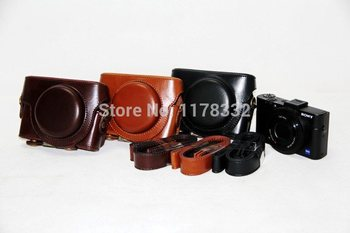 Leather Camera Case Cover Bag for Sony RX rx100/RX100II/RX100III DSC-RX100 M3 rx100 iii RX 100 ii Camera Bag image