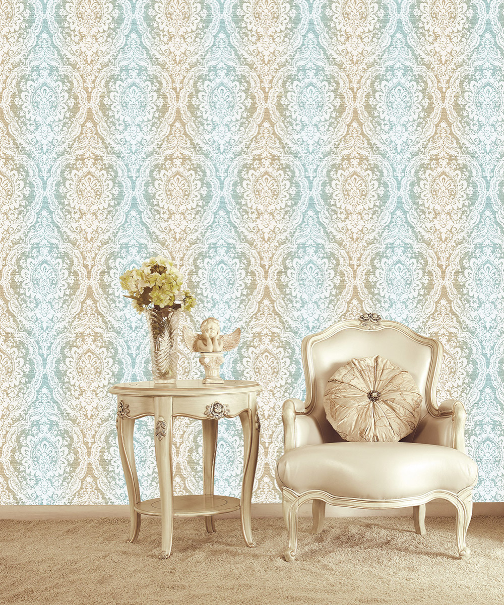 HaokHome European Style Gradient Damask Wallpaper Blue/Lt.Brown/White for living room Bedroom Kitchen Home Wall Decoration creamy white living room bedroom damask wallpaper