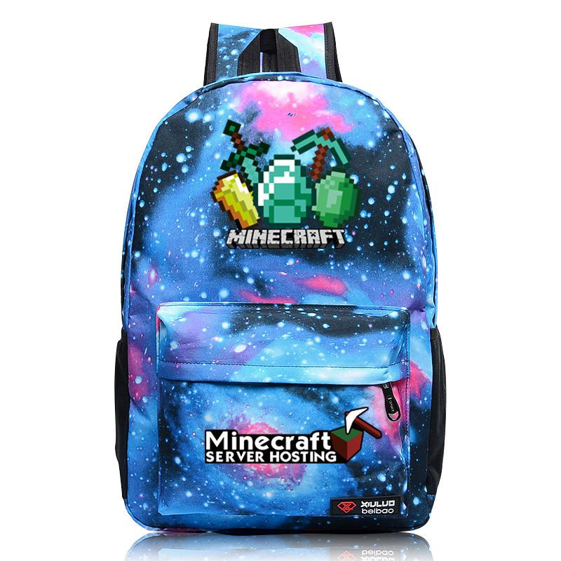 лучшая цена New Minecraft Backpack Royal Oxford Minecraft Glowing School Bag model minecraft creeper backpack for unisex GAME Birthday gift