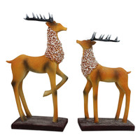 European Resin 2pcs Deer Sculpture And Statue Home Decoration Accessories Resins Crafts Animal Decorations Sculpture Retro Gift