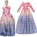 plus size maxi dress New 2017 Elegant Long Dress Quality Gradient Floral Print Brocade Women Long Dress Ball Gown S-L XL XXL 2XL