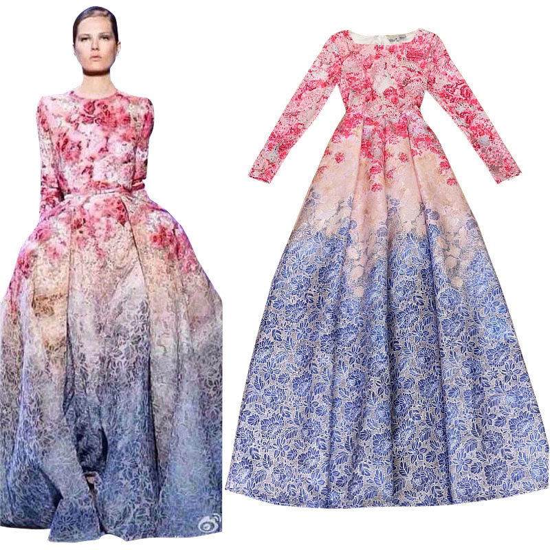 runway maxi dress New 2019 Elegant Long Dress Quality Gradient Floral Print  Brocade Women Long Dress Ball Gown S-L XL XXL 2XL 7bdb16802