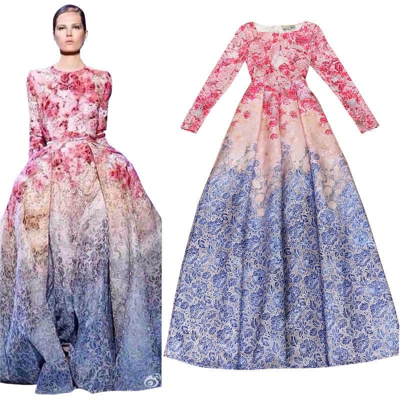 bf293bb81fc runway maxi dress New 2019 Elegant Long Dress Quality Gradient Floral Print  Brocade Women Long Dress Ball Gown S-L XL XXL 2XL