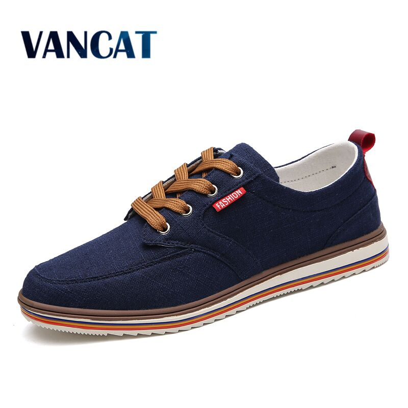 Vancat Brand Breathable Men Shoes Lace Up Canvas Casual Shoes Soft Comfort Light Sneakers Men Flats Shoes Plus Big Size 38-48 huracche 2016 brand men casual shoes lace up breathable black dress shoes for men big size chelsea light up oxford