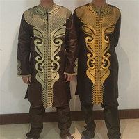 Free Shipping Africa S Richest Man Costume Bazin Embroidery Design Dashiki Style 100 Cotton Bazin