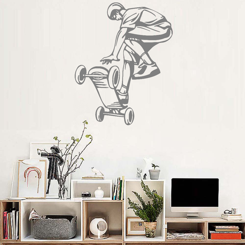 Art skateboard ride boys wall stickers murals large hall wallpaper teenager room wall decals ornament removable poster hot lc168