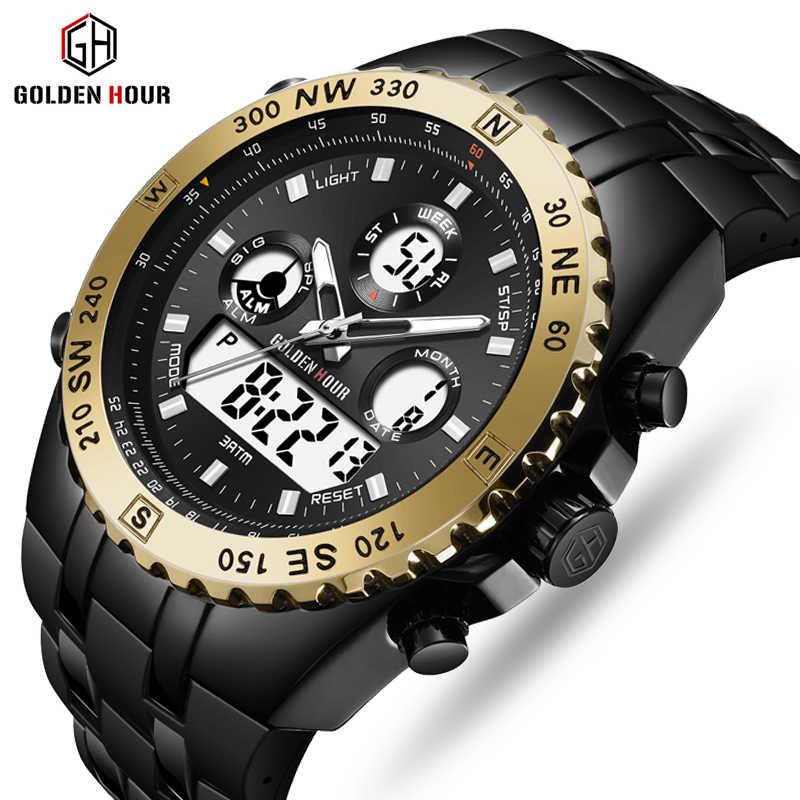 Reloj GOLDENHOUR мужские часы quartzt цифровые часы мужские часы с двумя дисплеями мужские наручные часы светящиеся мужские часы Relogio Masculino