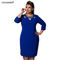COCOEPPS 2018 Plus Size Brand Dresses Autumn Sexy Hollow Out Fashion Dress 5XL 6XL Blue Red
