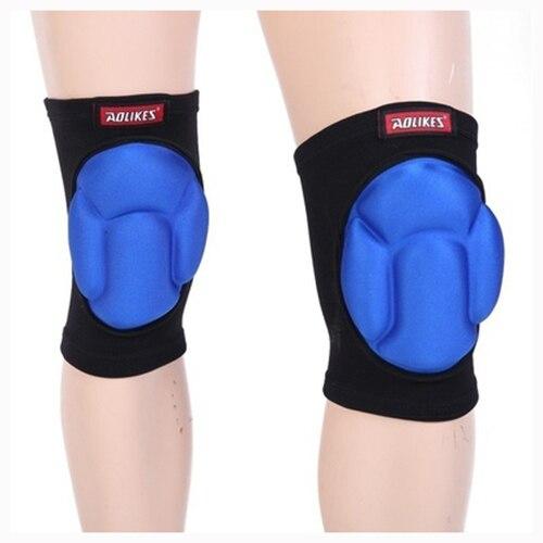 AOLIKES 1 пара Футбол катание противоударный Губка Pad колена Поддержка Brace протектор нога Blcak и синий