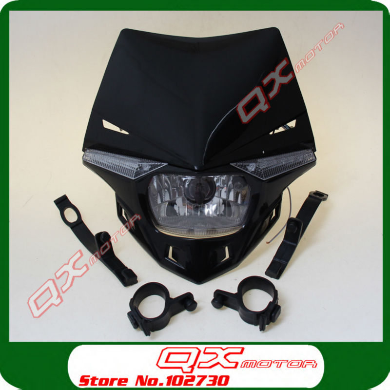 New H4 35/35W Streetfighter Headlight Headlamp Supermoto Headlight for Mini 125cc Dirt Pit Bike 250cc Dirt Bikes Motocross