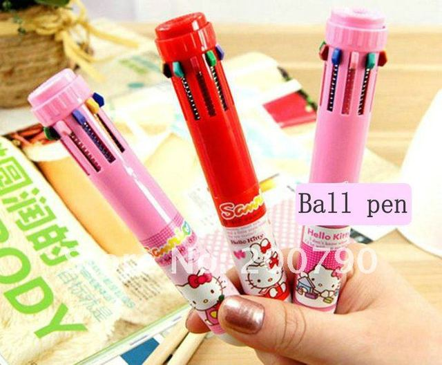 10 color ball pen,Ballpoint Pens 10 color,Free shipping 108pcs/lot,HELLO KITTY 10 color Ballpoint Pens,F0035