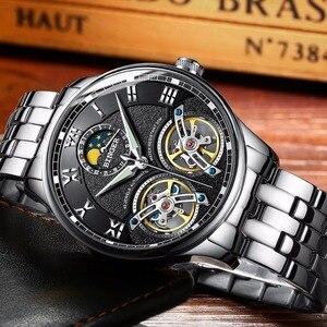 Image 5 - Double Tourbillon Switzerland BINGER Original Mens Automatic Self Wind Fashion Men Mechanical Wristwatch Black Leather Band