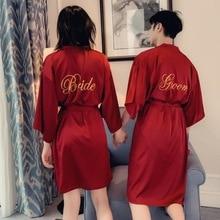 Сексуальный халат для невесты, подружки невесты, с вышивкой, с надписью, кимоно, халат, для свадебной вечеринки, для жениха и жениха, халаты, ночная рубашка, одежда для сна