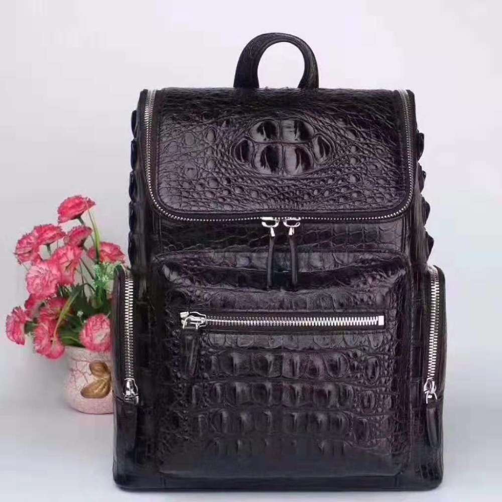 100% Genuine Crocodile Leather Fashion backpack Top Quality high end genuine Leather packpack men women UBEJ0017