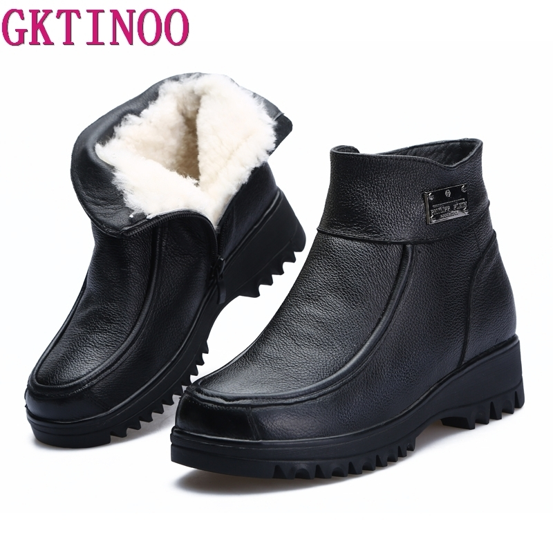 GKTINOO 2019 New Winter Ankle Boots Women Snow Boots Natural Wool Genuine Leather Wedges Platform Heel Zipper Warm Short Boots