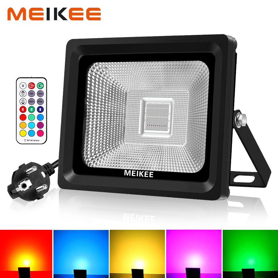 30W RGB LED Flood Light IP66 Waterproof LED Floodlights 16 Colors Outdoor Spotlights Garden Lamp Wall Light with RF Remote-in Floodlights from Lights & Lighting    1