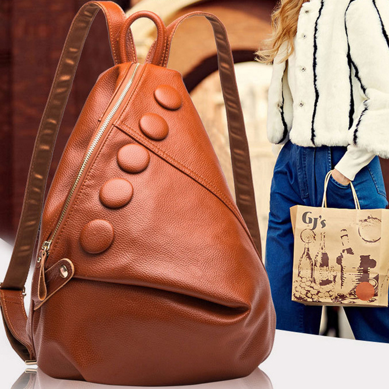 Original Design Woman Genuine Leather Travel Backpack Solid Color Creative Shape Soft Handle Zipper Double Shoulder Bag for Gift недорго, оригинальная цена