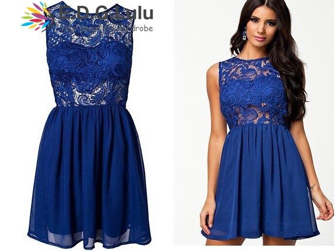 mini ruha elegáns szexi alkalmi tengerparti party elegáns kék - Női ruházat