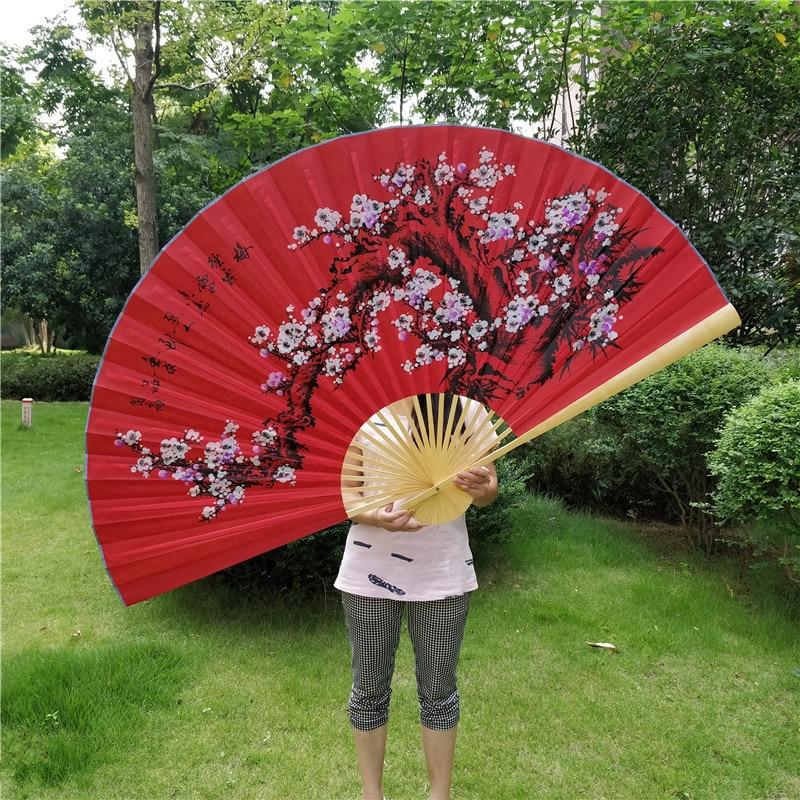 Chinese Style Festive Red Plum Decoration Fan Classical Decorative Furnishings Big Folding Hand Fan Performance Props Abanicos