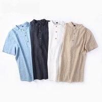 2018 collar shirt men's linen short sleeved Slim striped small collar shirt cotton linen men's casual shirt