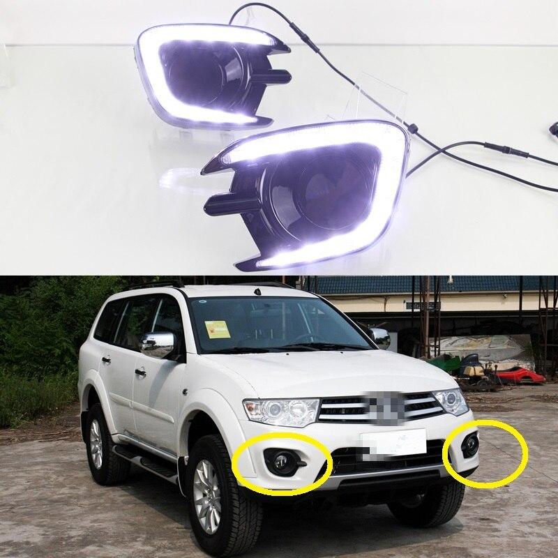 1 Set LED Daytime running lights DRL Driving Lamp for Mitsubishi Pajero Sport 2013-2015 car drl running lights for mitsubishi pajero 2007 led daytime driving light