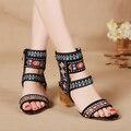 Mulheres sapatos plataforma Bordado Sapatos de salto alto sandália do dedo do pé aberto sy-995