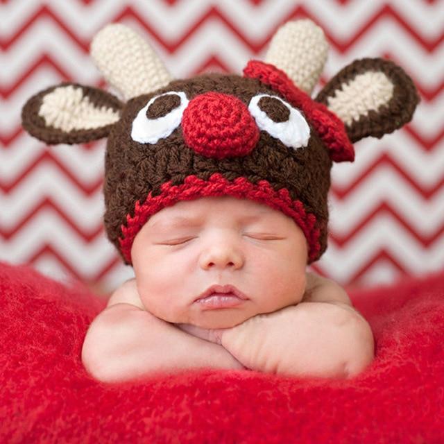 Bayi yang baru lahir Topi Bayi Rajutan Topi Padat Topi Rusa Lucu Bayi Laki- laki 755f161bfd