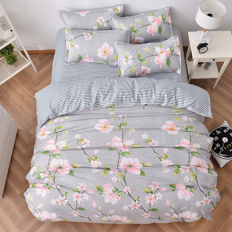 striped pink flower print bedding sets quilt/duvet covers comforters single twin full queen king size Childrens babys girls bed