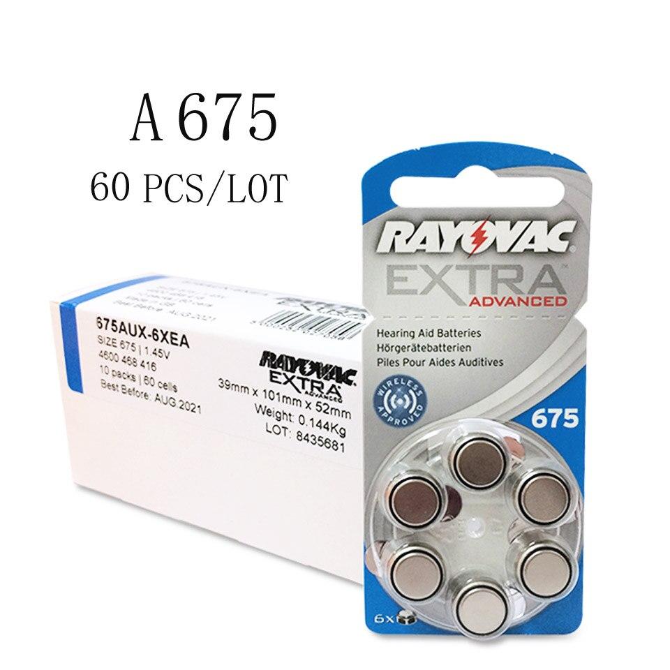 60 baterias extra 675a 675 a675 pr44 da prótese auditiva do ar do zinco de rayovac dos pces bateria a675 da prótese auditiva para próteses auditivas